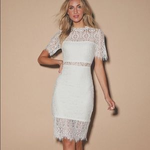 Lulu's Remarkable White Lace Dress
